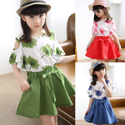 Summer Girls Clothes Printed T-shirt Tops+Dress Skirts 2PCS Outfits Sundress