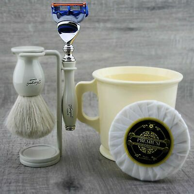 5pcs Classic Men's Shaving Set 5 Edge Cartridge Razor & Pure Badger Brush, Stand