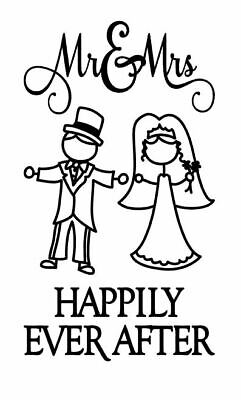 And they lived happily ever after wedding Vinyl Decal wine bottle Sticker.