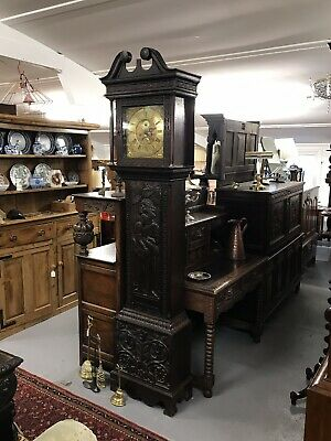 Antique Highly Carved Oak 8 Day Long Case Clock W Barnard Newark Sn-387b