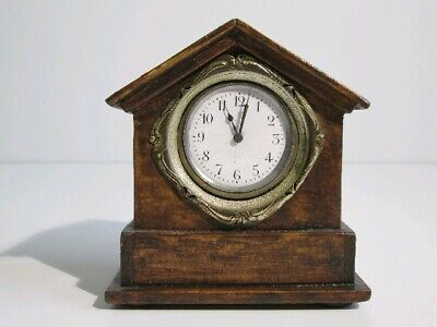 Antique Watch Mechanical with Layout Wooden a Cottage First Xx Century