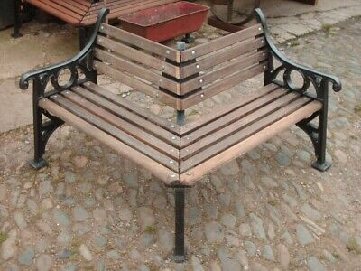 Rustic Traditional Cast Iron & Hardwood Corner Garden Bench