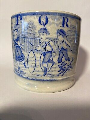 Antique Staffordshire blue transfer ware Pearlware Child's Mug early 19th c ABC