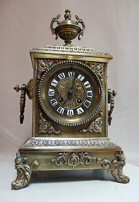 Bronze Neo Gothic French Clock 1880 rich ornamented