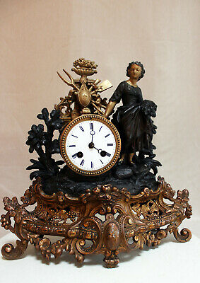 ANTIQUE 1870 FRENCH CLOCK GRACIEUS STATUE ROMANTIC movement Japy Freres