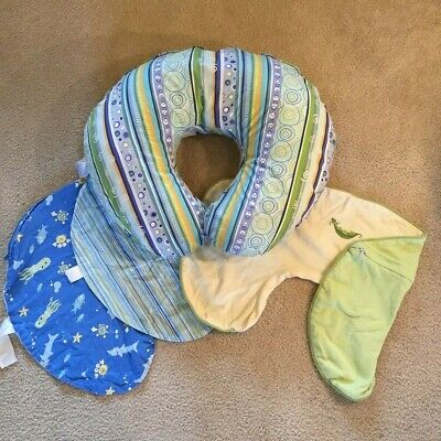 Original Boppy Pillow & 3 Covers - Gently Used -  Nice Patterns Pet/ Smoke-Free