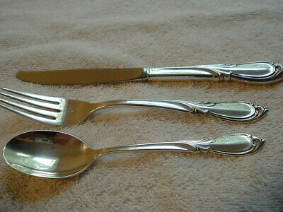 """Angelique by International Sterling Silver /""""I Love You/"""" Serving Set 3pc Custom"""