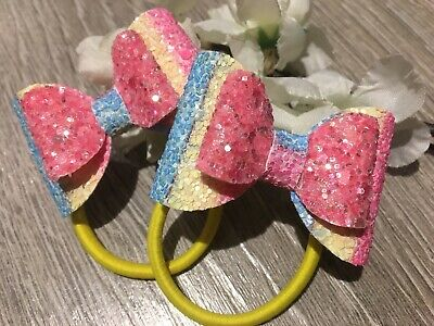 Handmade set of 2 rainbow stripe & pink glitter girls bows bobbles pigtails