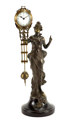 German Style Junghans Brass Diana Lady Figure Swinging Swinger Clock