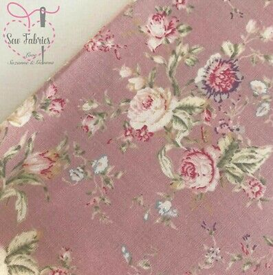 100/% Cotton Poplin Fabric Rose /& Hubble Uncle Robs Floral Flowers In Circles