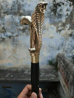 Antique Style Victorian Cane Wooden Walking Stick Vintage Solid Brass Christmas