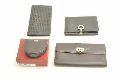 SALVATORE FERRAGAMO Leather Wallet Coin Purse 4Set Auth 11218