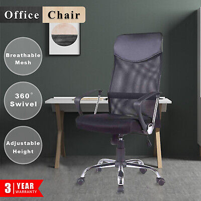 Executive Computer Gaming High Back Office Chair  PU Leather Mesh Chairs Black