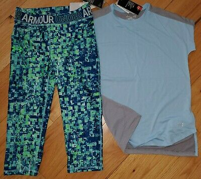 Under Armour patterned capris cropped leggings NWT girls' L YLG large green blue