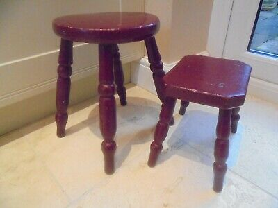 Pair of Victorian red painted stools, maroon, 4 legs, milking