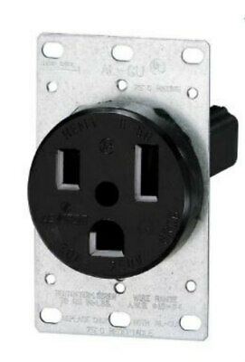 Leviton Black Power Receptacle Flush Mount 2P 3W 50A 250V Grounding 5374 NEW!