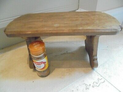 Small solid wood vintage stool, low bench, routed & shaped seat