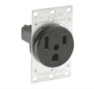 Leviton Black Power Receptacle Flush Mount 2-Pole 3-Wire 5373 NEW NEMA5-50R