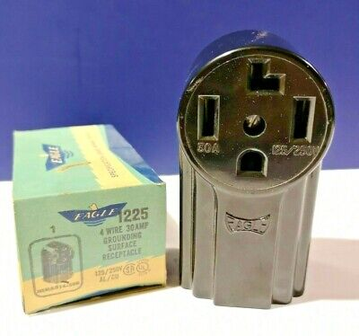 Eagle Black 3P 4W 30A 125/250V NEMA 14-30R Surface Grounding Receptacle 1225 NEW