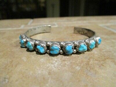 EXTRA FINE  Old Pawn Navajo Sterling Silver Turquoise ROW Bracelet