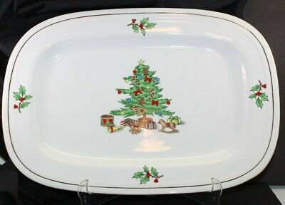 Vintage Holiday Hostess serving platter 14 x 10 Christmas tree themed