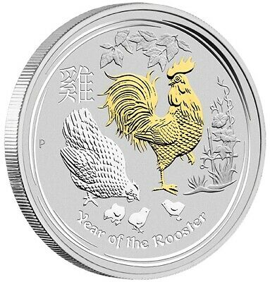 2017 Australian Lunar Series II: Year of the Rooster 1 oz Silver Gilded Perth Mi