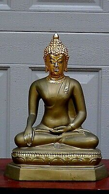 "Antique Chinese Bronze /Brass Gilt Seated On Lotus Buddha Statue 14""H."