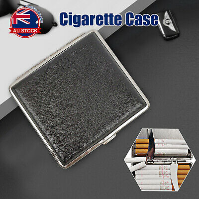 Stainless Steel+Pu Cigar Cigarette Tobacco Case Pocket Pouch Holder Box H