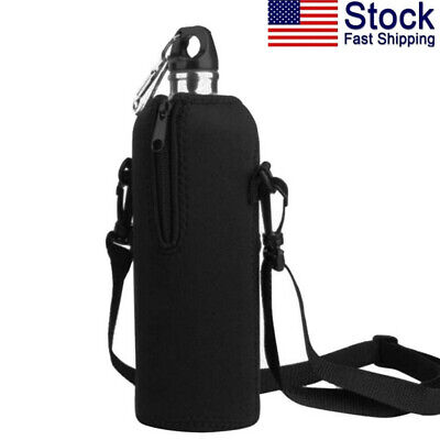 AUPET WHITE BLACK 1L Water Bottle Insulated Neoprene Cover Storage Bag//Carrier H