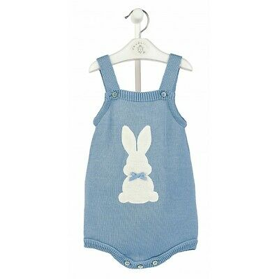 Dandelion Baby Boys Girls Spanish Romany Knitted Rabbit Blue Romper Suit Outfit