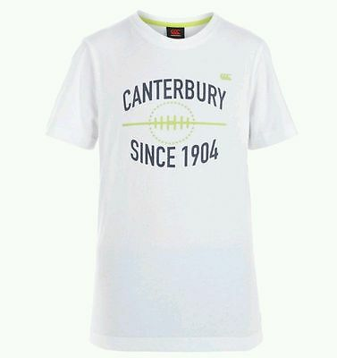 CANTERBURY Kids Rugby T-shirt White Age 10 Years BNWT