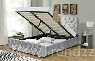 Ottoman Storage Bed Fabric Silver, Black, Crushed Velvet, Single,Double & King