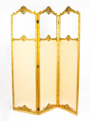 Antique French Giltwood Three Fold  Dressing Screen  C1870 19th C
