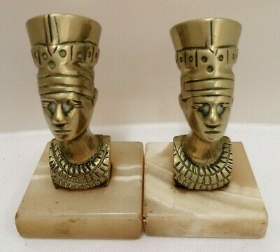 Pair Of 11cm Brass & Onyx Egyptian Statues (D2)