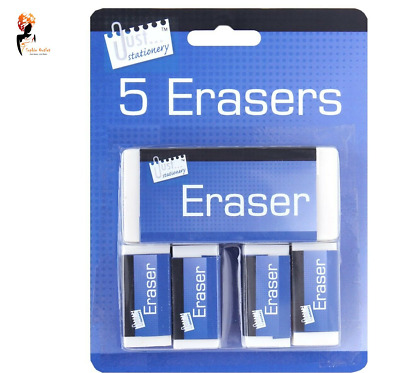 WHITE ERASERS PACK 5 Soft White Pencil Rubber School Art Drawing Artists T6340UK