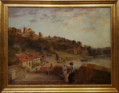 Antique Oil Painting Alfred Addy English/american  Late 19th Century