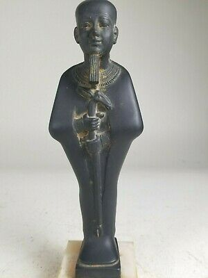 Ancient Egyptian Style Statuette Of The God Ptah Black Stone  With Jackal Staff