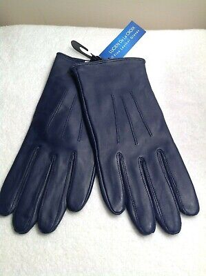 NEW Ladies NAVY BLUE  Fine Nappa LEATHER Lined Gloves  Medium/Large