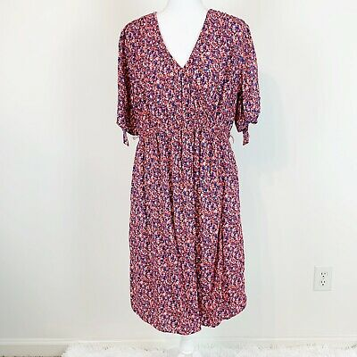 Gap Maternity Size L Floral Faux Wrapped Dress Short Sleeves