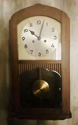 Junghans Large Antique Art Deco Style Wooden Wall Clock Sold AS IS 12 Lbs! 12x25