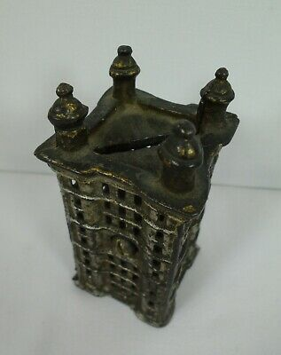 Castle Cast Iron Coin Bank Metal Saving Safe Deposit Antique Vintage
