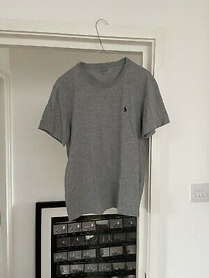 Mens Grey Gray Ralph Lauren Polo T Shirt Size M Medium Or Boxy Baggy S Small