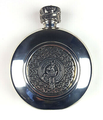 Keith Clan Crest Antiqued Pewter Flask - Clearance