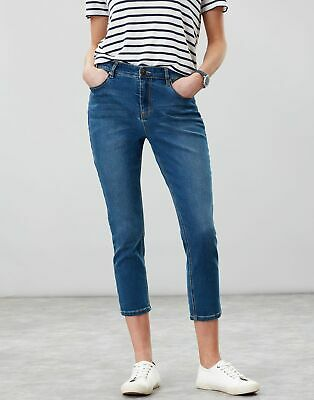 Joules Womens Monroe Crop Cropped Skinny Stretch Jeans in BLUE Size 8