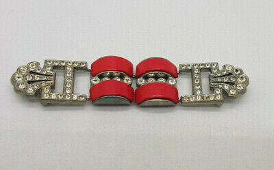 Antique Deco Beautiful White Metal ,Cz & Red Stone Belt Buckle