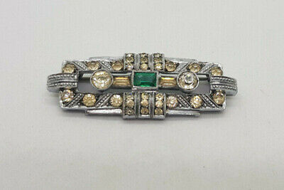 Antique Deco Beautiful 935 Silver,Cz & Green Stone Brooch
