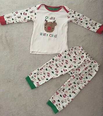 (Flawed) Mothercare Pyjama 18-24 Months Christmas PJ's Sleepwear Baby Girls Set