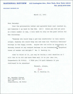 William F. Buckley Jr. - Typed Letter Signed 03/11/2001