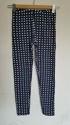 Cat & Jack Leggings Navy Blue White Squares Size L 10 12 Years Girls Stretch