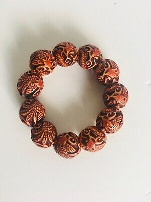Awesome Chinese Hand-carved 12-PCS Bead Nine Dragon Vogue Bracelet